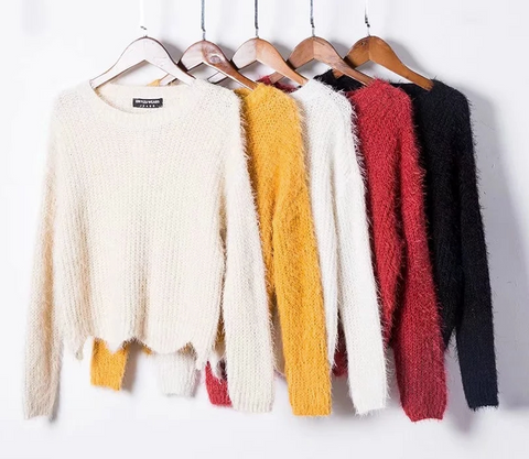 Scallop hem fuzzy sweater
