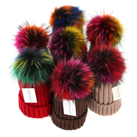 Colored pom pom hat