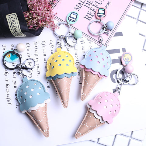 Leather ice cream keychain