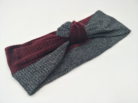 Velvet colorblock knot headband