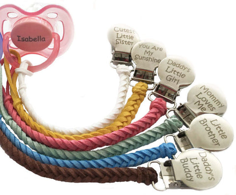 Personalized leather pacifier clip