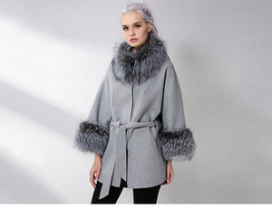 Cashmere jacket with real fox fur