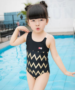 Gold chevron swim suit