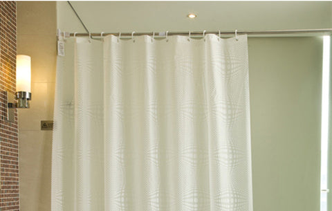 Simple shower curtain with hooks