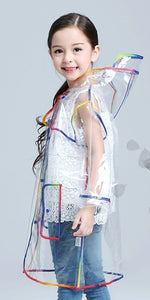 Transparent raincoat with colored trim