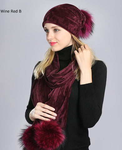 Velour beanie and scarf set