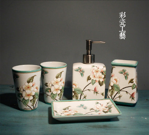 5 pc floral bathroom set