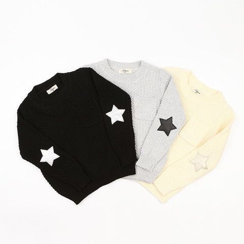 Star elbow patch sweater