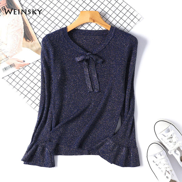 Shimmer knit tie sweater