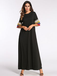 Tassel sleeve maxi dress