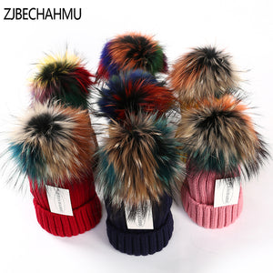 Colorful pom pom hat