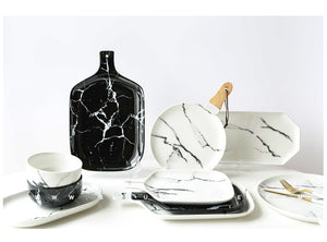 Ceramic marble tableware