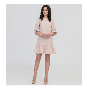 Ruffle hem blush dress