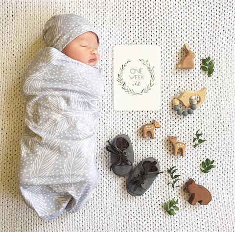 Swaddle blanket and hat set