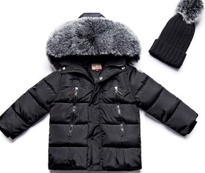 Puffer coat with fur hood