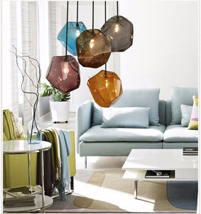 Colored glass light fixture