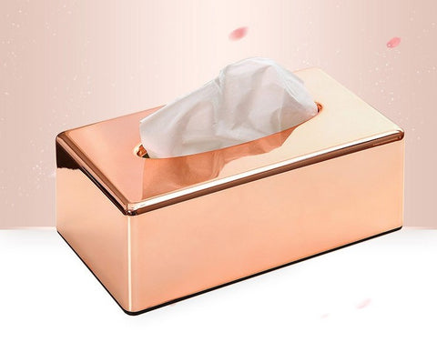 Rose gold tissue box holder