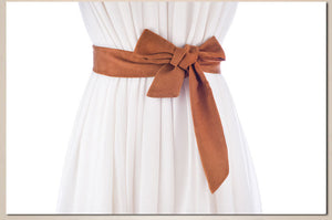 Suede ribbon belt