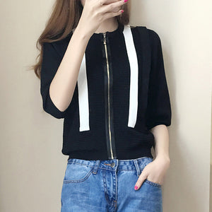 Zip up knit top