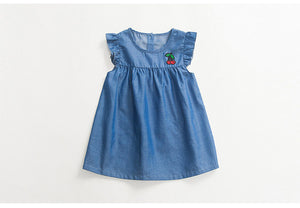 Denim cherry embroidered dress
