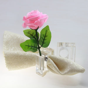 Acrylic flower napkin ring 4 pc set