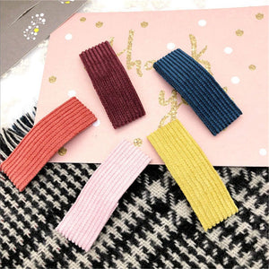 Corduroy hair clips 5 pcs