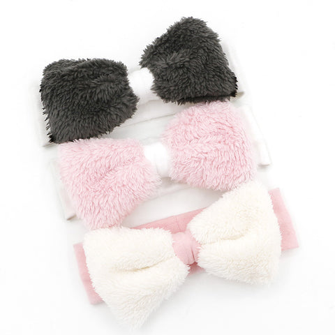 Fur bow headband