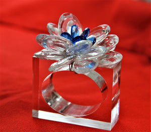 12 pcs crystal flower napkin ring