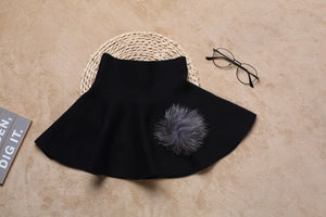 Fur applique knit skirt