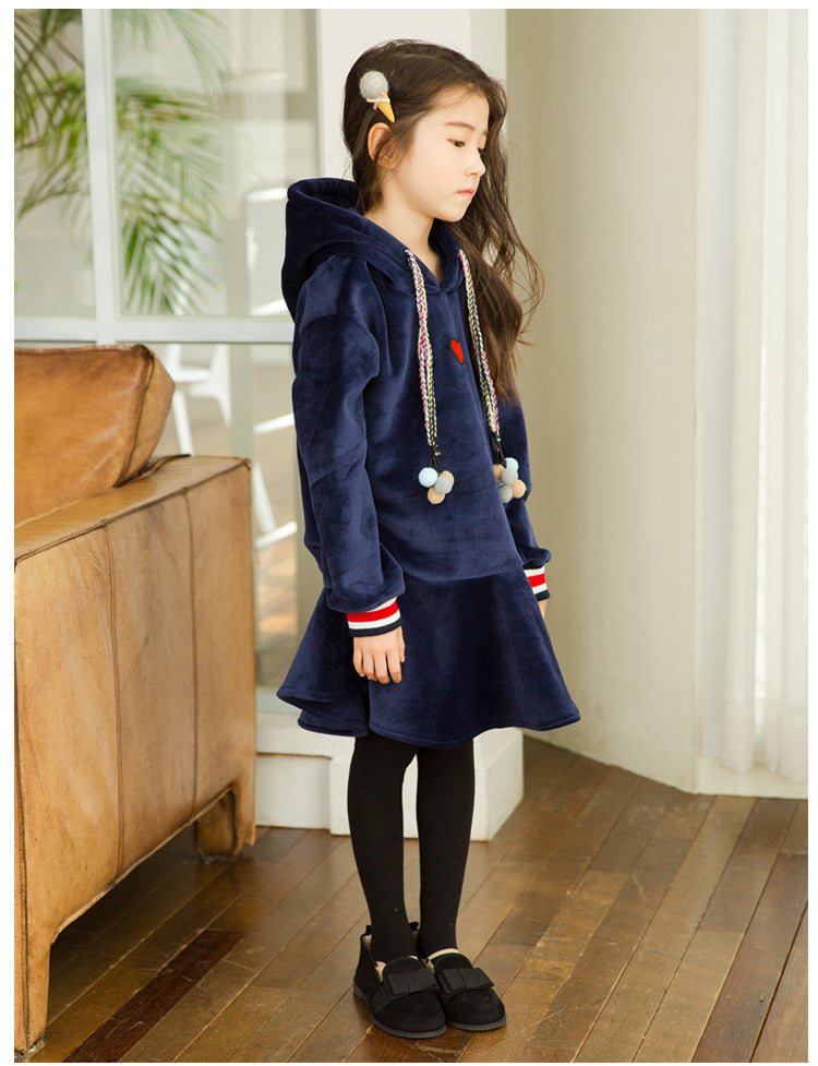 Velour pom pom hoodie dress