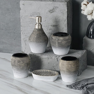 5 pc porcelain bathroom set