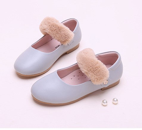 Fur strap mary janes