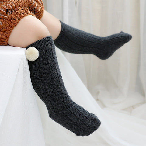 Cable knit pom pom socks