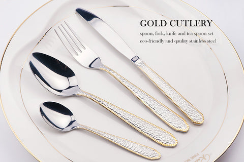 Gold hammered 24 pc cutlery set