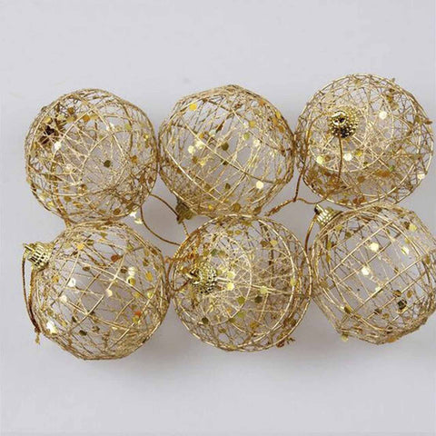 6 pc gold hanging balls