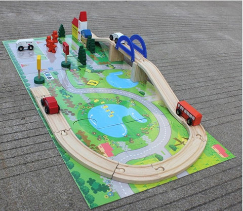 40 pc wooden traffic rail set