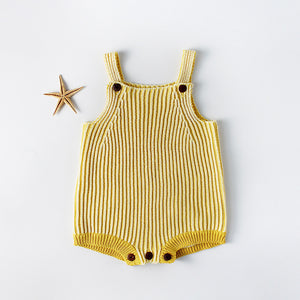 Ribbed knit overalls