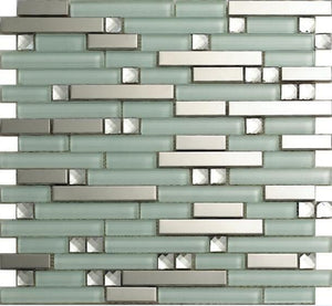 Metal glass mosaic backsplash