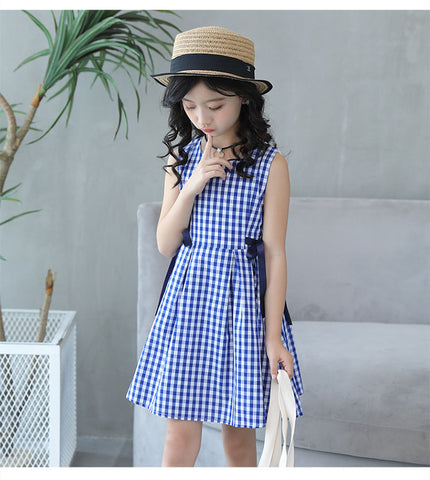 Gingham side bow dress