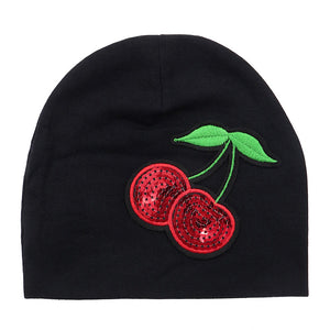 Cherry applique beanie
