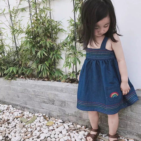 Denim rainbow dress