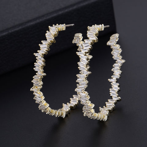 CZ loop earrings