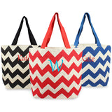 Red Chevron Parchment Jute Tote Bags
