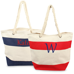Navy Striped Canvas Totes w/ Rope Handles