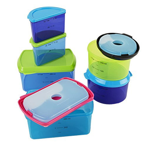 Fit & Fresh Kids' Reusable Lunch Box Container Set with Built-In Ice Packs, 14-Piece Healthy Lunch and Snack Kit, BPA-Free Microwave Safe, Portion Control