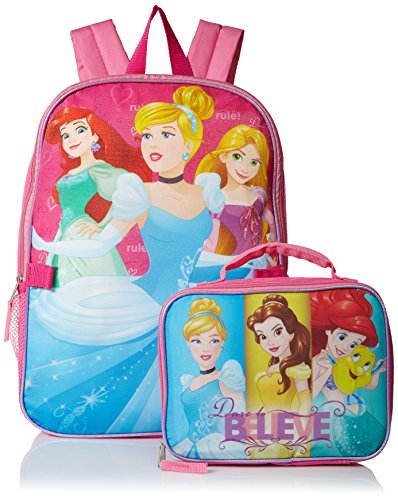 Disney Girls' Princeses Backpack Dare to Dream with Lunch Kit, Hot Pink/Pink
