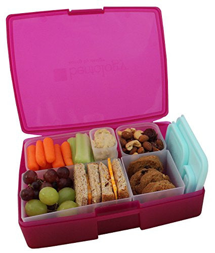 Bentology Leak-proof Bento Lunch Box with 5 Removable Containers, Translucent Raspberry