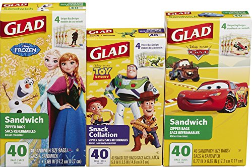 Glad Food Storage Bags Variety Pack, Disney, 120 Count