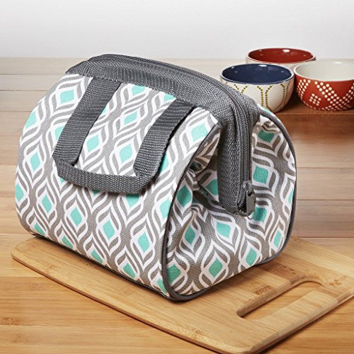 Fit & Fresh Women's Charlotte Insulated Lunch Bag with Zipper Closure and Ice Pack, Ideal Size for Work or School, Aqua Gray Leaf