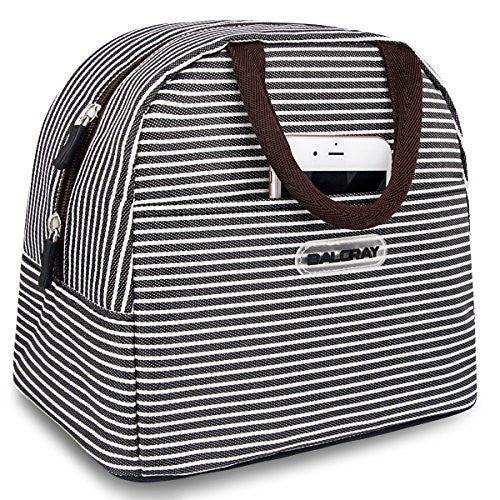 44a8fbfe9b10 BALORAY Lunch Bag Tote Bag Lunch Organizer Lunch Holder Lunch Container  (Brown White Stripes)